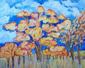 """Autumn Tree in Sunlight"" Acrylic on Canvas $210"