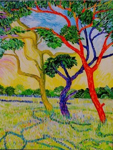 """Live Oaks, Lavender Field"" Acrylic on Canvas $210"
