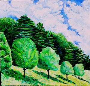 """Trees and Sky"" Acrylic on Canvas $140"